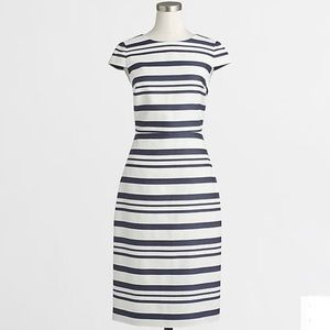 J.Crew Striped Gray and White Cap Sleeve Dress